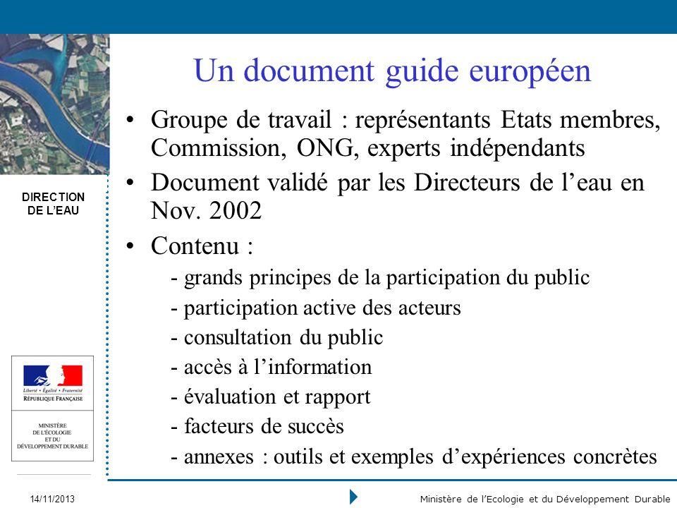 DIRECTION DE LEAU 14/11/2013 Ministère de lEcologie et du Développement Durable Groupe de travail : représentants Etats membres, Commission, ONG, expe