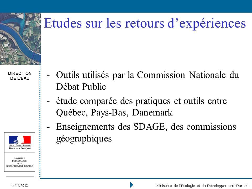 DIRECTION DE LEAU 14/11/2013 Ministère de lEcologie et du Développement Durable Etudes sur les retours dexpériences -Outils utilisés par la Commission