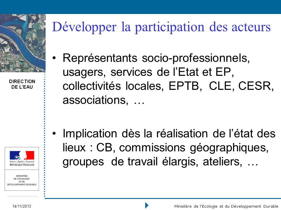 DIRECTION DE LEAU 14/11/2013 Ministère de lEcologie et du Développement Durable Développer la participation des acteurs Représentants socio-profession