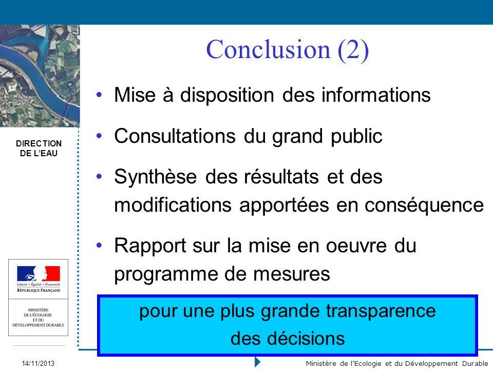 DIRECTION DE LEAU 14/11/2013 Ministère de lEcologie et du Développement Durable Conclusion (2) Mise à disposition des informations Consultations du gr
