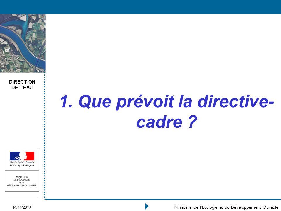 DIRECTION DE LEAU 14/11/2013 Ministère de lEcologie et du Développement Durable 1. Que prévoit la directive- cadre ?