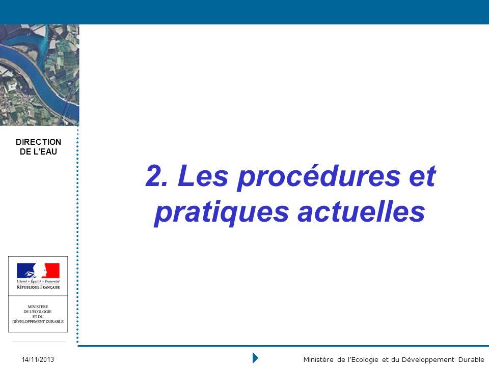 DIRECTION DE LEAU 14/11/2013 Ministère de lEcologie et du Développement Durable 2. Les procédures et pratiques actuelles