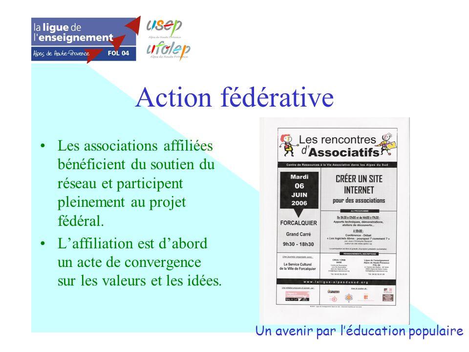 Action fédérative Les associations affiliées bénéficient du soutien du réseau et participent pleinement au projet fédéral. Laffiliation est dabord un