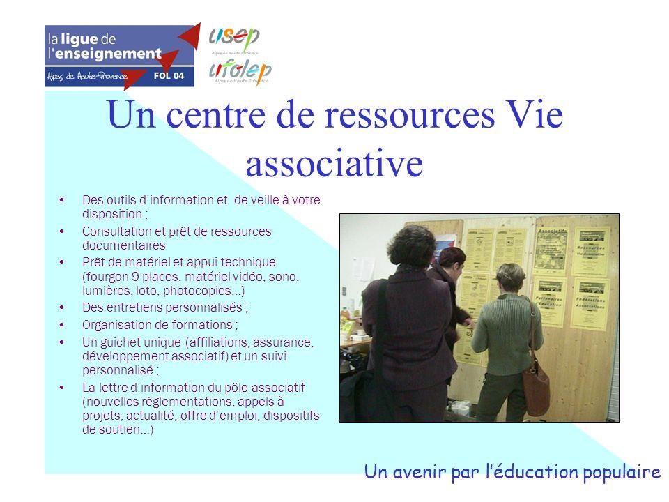 Un centre de ressources Vie associative Des outils dinformation et de veille à votre disposition ; Consultation et prêt de ressources documentaires Pr