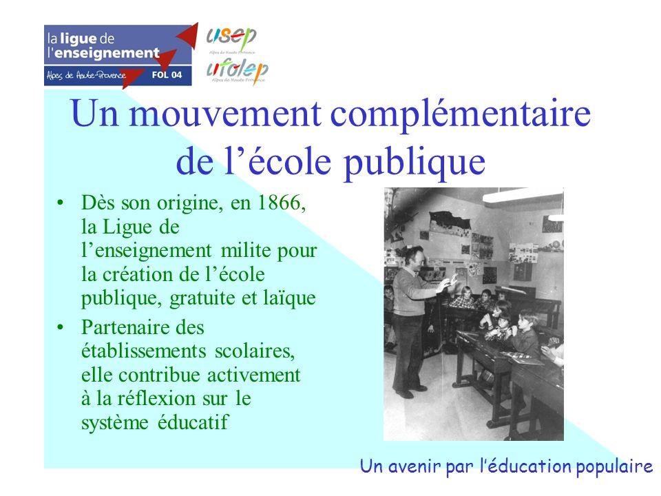 Un mouvement complémentaire de lécole publique Dès son origine, en 1866, la Ligue de lenseignement milite pour la création de lécole publique, gratuit