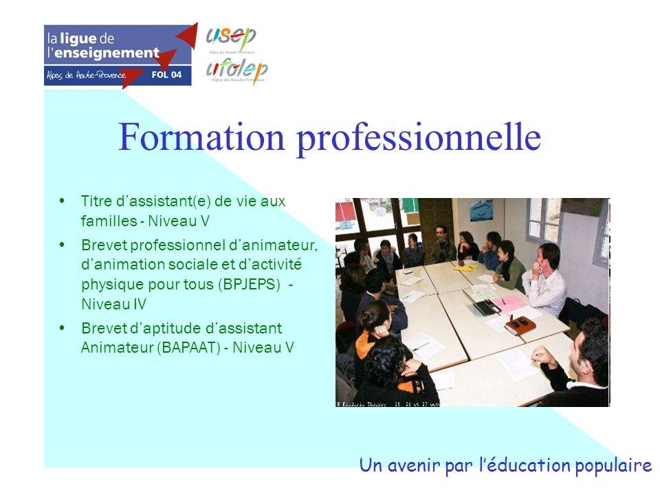 Formation professionnelle Titre dassistant(e) de vie aux familles - Niveau V Brevet professionnel danimateur, danimation sociale et dactivité physique