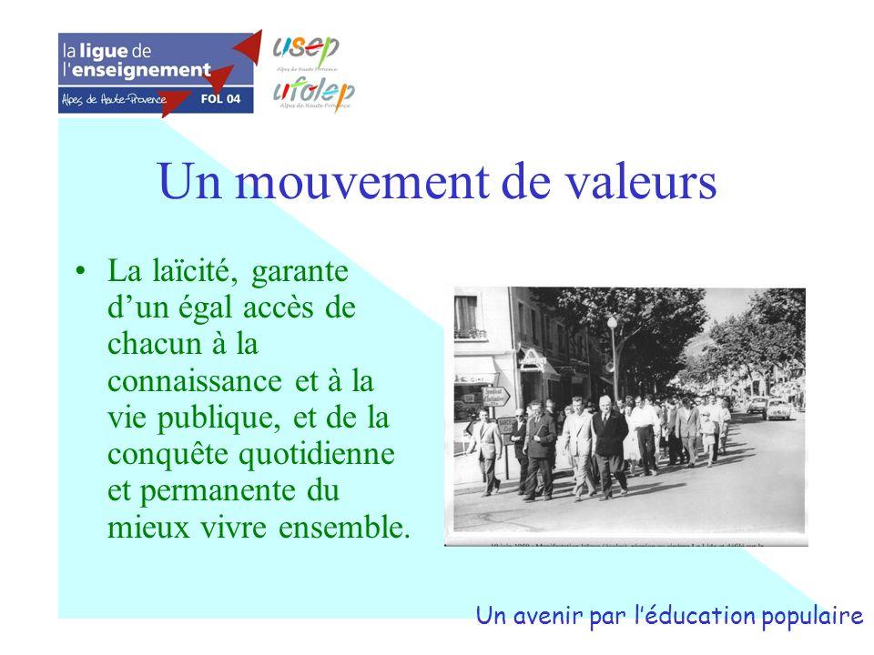 Un mouvement de valeurs La laïcité, garante dun égal accès de chacun à la connaissance et à la vie publique, et de la conquête quotidienne et permanen