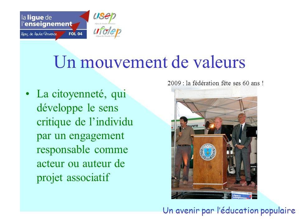 Un mouvement de valeurs La citoyenneté, qui développe le sens critique de lindividu par un engagement responsable comme acteur ou auteur de projet ass