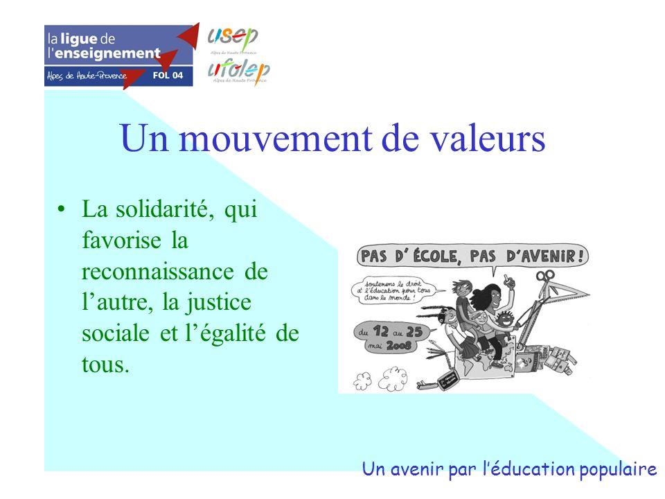 Un mouvement de valeurs La solidarité, qui favorise la reconnaissance de lautre, la justice sociale et légalité de tous. Un avenir par léducation popu