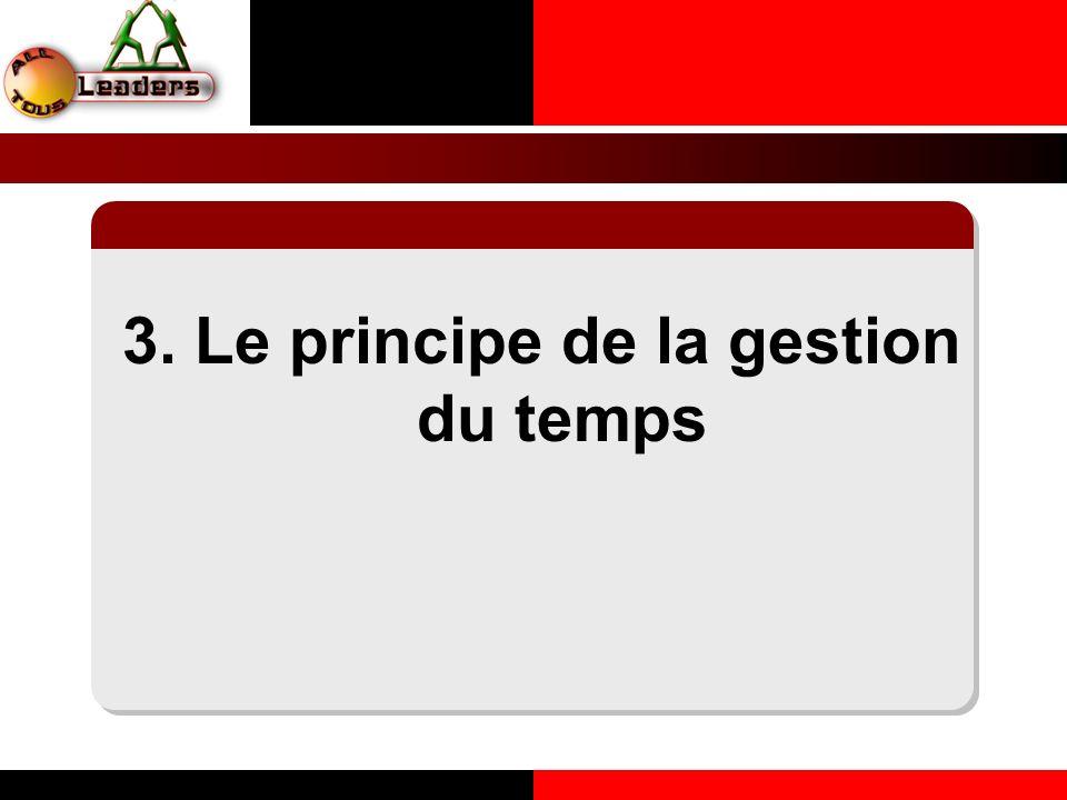3. Le principe de la gestion du temps LE PRINCIPE DE LA COHERENCE PERSONNELLE