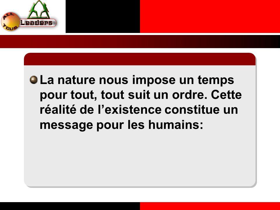 La nature nous impose un temps pour tout, tout suit un ordre. Cette réalité de lexistence constitue un message pour les humains: LE PRINCIPE DE LA COH