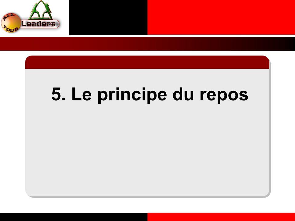 5. Le principe du repos LE PRINCIPE DE LA COHERENCE PERSONNELLE