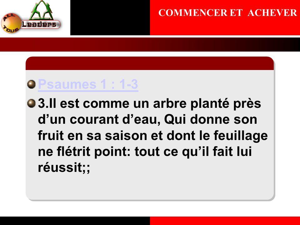 Psaumes 1 : 1-3 3.Il est comme un arbre planté près dun courant deau, Qui donne son fruit en sa saison et dont le feuillage ne flétrit point: tout ce