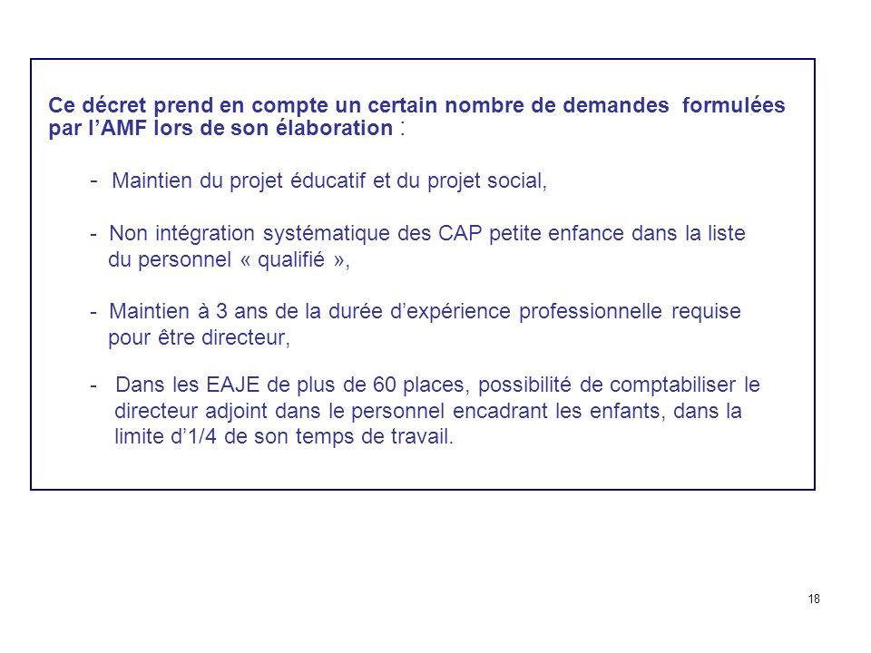 Ce décret prend en compte un certain nombre de demandes formulées par lAMF lors de son élaboration : - Maintien du projet éducatif et du projet social