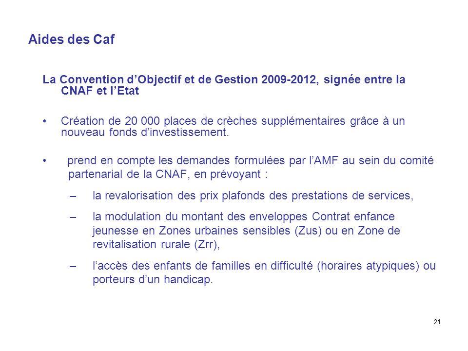 Aides des Caf La Convention dObjectif et de Gestion 2009-2012, signée entre la CNAF et lEtat Création de 20 000 places de crèches supplémentaires grâc