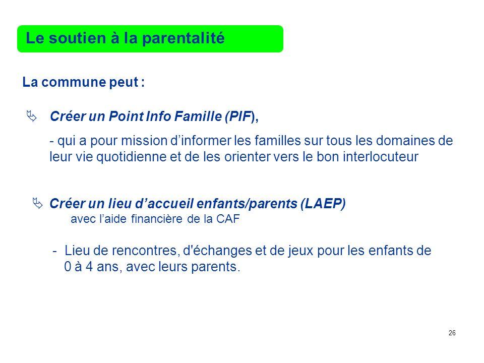 Le soutien à la parentalité La commune peut : Créer un Point Info Famille (PIF), - qui a pour mission dinformer les familles sur tous les domaines de