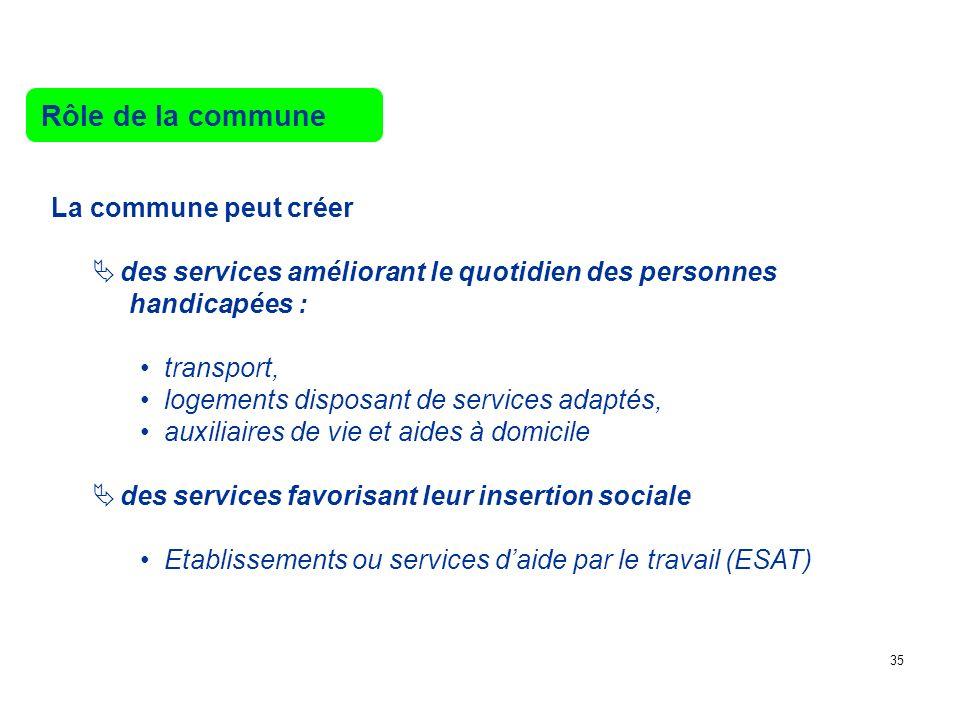Rôle de la commune La commune peut créer des services améliorant le quotidien des personnes handicapées : transport, logements disposant de services a