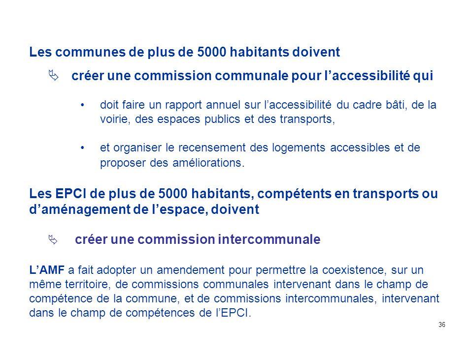 Les communes de plus de 5000 habitants doivent créer une commission communale pour laccessibilité qui doit faire un rapport annuel sur laccessibilité