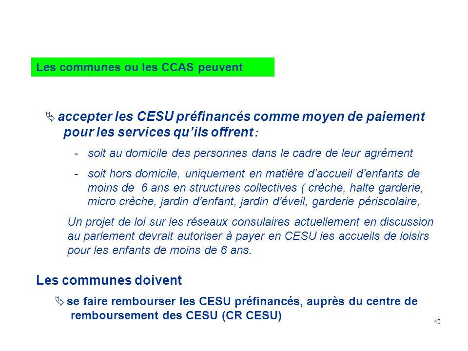 accepter les CESU préfinancés comme moyen de paiement pour les services quils offrent : - soit au domicile des personnes dans le cadre de leur agrémen