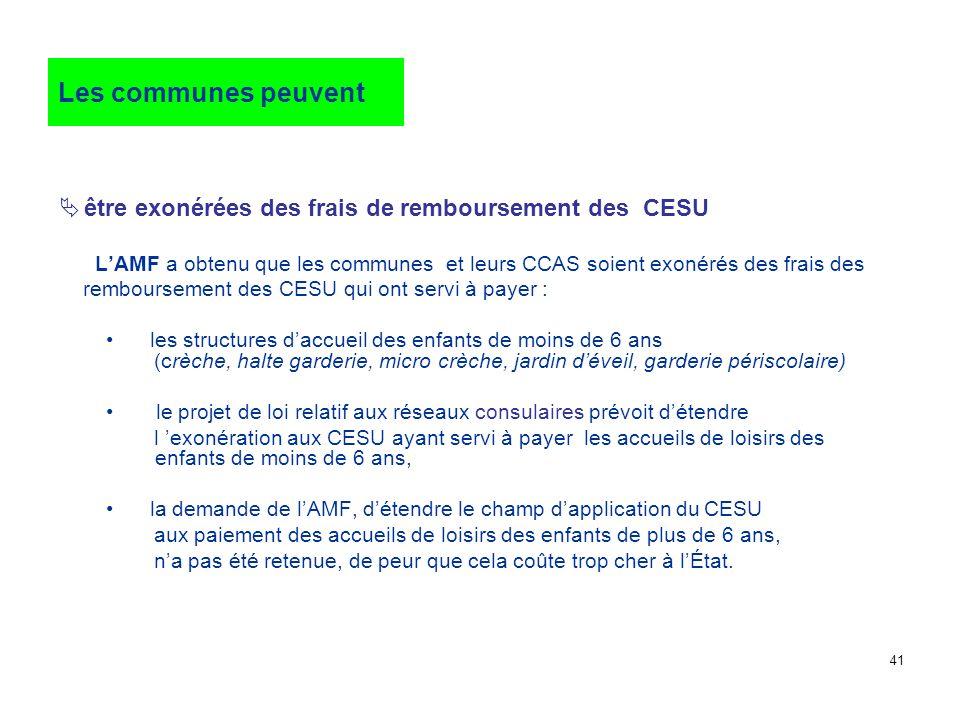 être exonérées des frais de remboursement des CESU LAMF a obtenu que les communes et leurs CCAS soient exonérés des frais des remboursement des CESU q