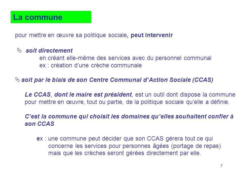 La commune pour mettre en œuvre sa politique sociale, peut intervenir soit directement en créant elle-même des services avec du personnel communal ex