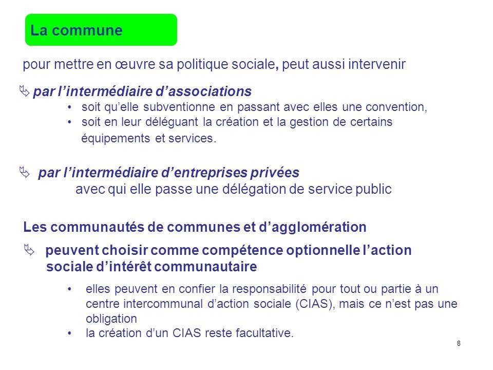 La commune pour mettre en œuvre sa politique sociale, peut aussi intervenir par lintermédiaire dentreprises privées avec qui elle passe une délégation