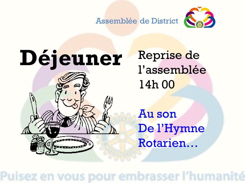 Déjeuner Reprise de lassemblée 14h 00 Au son De lHymne Rotarien… Assemblée de District