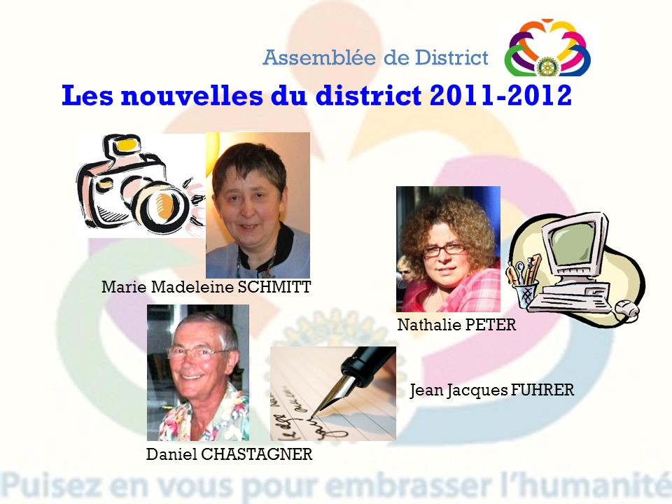 Assemblée de District Les nouvelles du district 2011-2012 Marie Madeleine SCHMITT Nathalie PETER Daniel CHASTAGNER Jean Jacques FUHRER