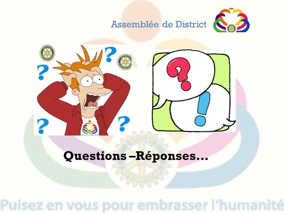 Questions –Réponses… Assemblée de District