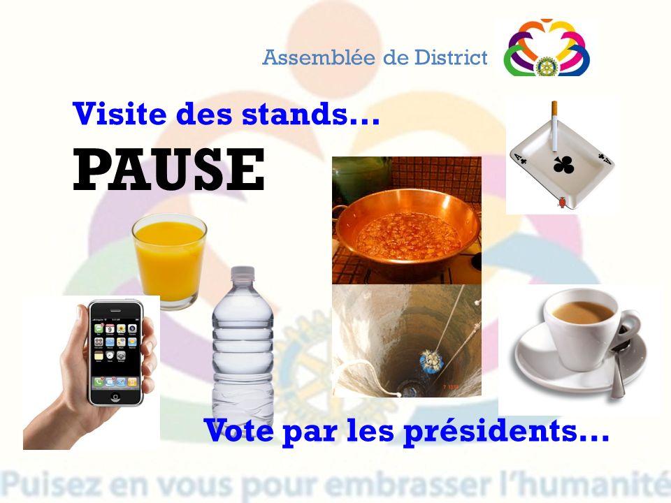 PAUSE Assemblée de District Visite des stands… Vote par les présidents…