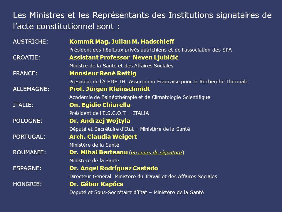 Les Ministres et les Représentants des Institutions signataires de lacte constitutionnel sont : AUSTRICHE: KommR Mag.