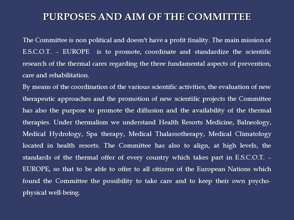 PURPOSES AND AIM OF THE COMMITTEE The Committee is non political and doesn t have a profit finality.