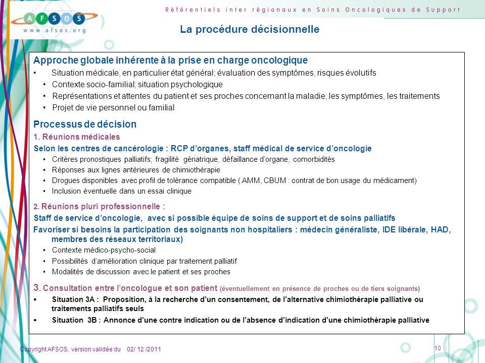 Copyright AFSOS, version validée du 02/ 12 /2011 10 La procédure décisionnelle Approche globale inhérente à la prise en charge oncologique Situation m