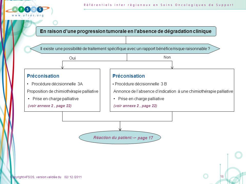 Copyright AFSOS, version validée du 02/ 12 /2011 16 Préconisation Procédure décisionnelle 3A Proposition de chimiothérapie palliative Prise en charge