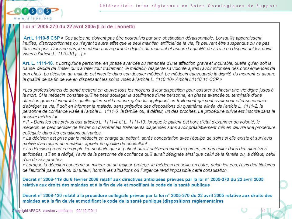 Copyright AFSOS, version validée du 02/ 12 /2011 25 Loi n° 2005-370 du 22 avril 2005 (Loi de Leonetti) Art L 1110-5 CSP « Ces actes ne doivent pas êtr