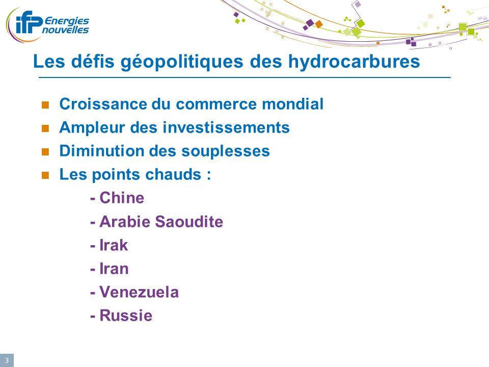 3 Les défis géopolitiques des hydrocarbures Croissance du commerce mondial Ampleur des investissements Diminution des souplesses Les points chauds : -