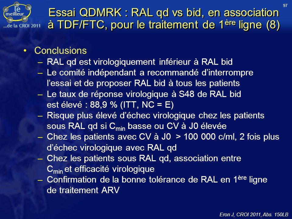 le meilleur …de la CROI 2011 Conclusions –RAL qd est virologiquement inférieur à RAL bid –Le comité indépendant a recommandé dinterrompre lessai et de proposer RAL bid à tous les patients –Le taux de réponse virologique à S48 de RAL bid est élevé : 88,9 % (ITT, NC = E) –Risque plus élevé déchec virologique chez les patients sous RAL qd si C min basse ou CV à J0 élevée –Chez les patients avec CV à J0 > 100 000 c/ml, 2 fois plus déchec virologique avec RAL qd –Chez les patients sous RAL qd, association entre C min et efficacité virologique –Confirmation de la bonne tolérance de RAL en 1 ère ligne de traitement ARV Essai QDMRK : RAL qd vs bid, en association à TDF/FTC, pour le traitement de 1 ère ligne (8) 97 Eron J, CROI 2011, Abs.