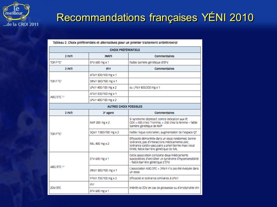 le meilleur …de la CROI 2011 Recommandations françaises YÉNI 2010