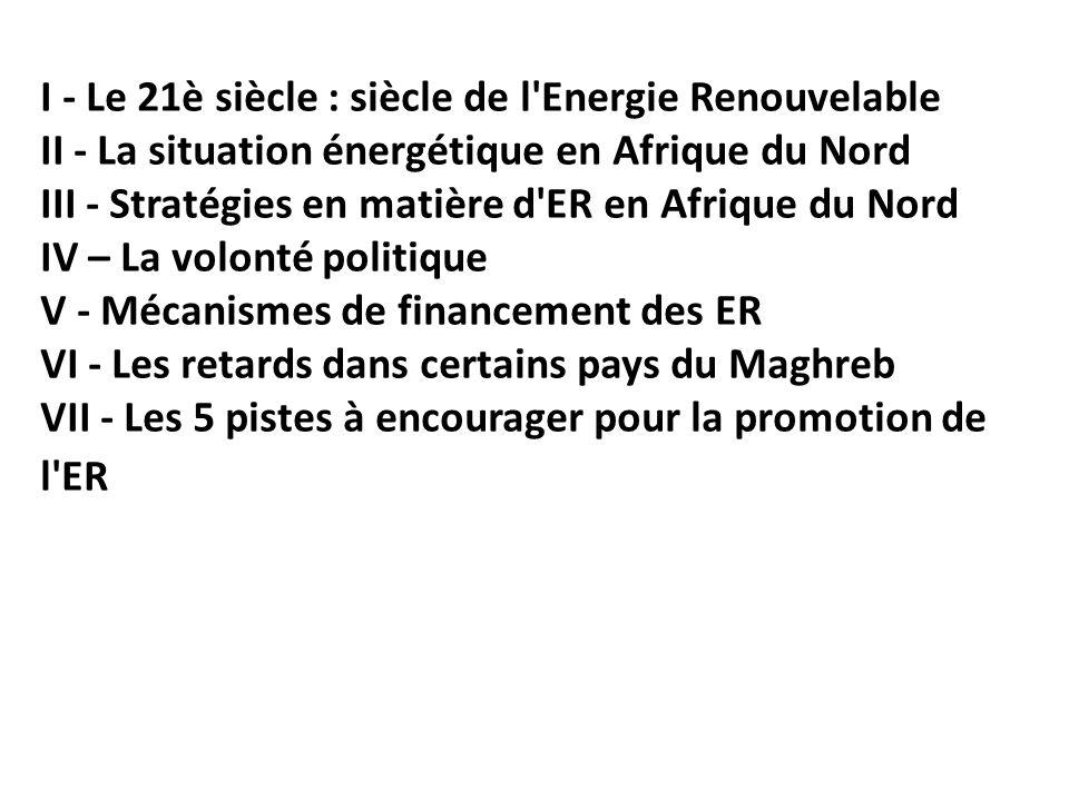 I - Le 21è siècle : siècle de l'Energie Renouvelable II - La situation énergétique en Afrique du Nord III - Stratégies en matière d'ER en Afrique du N