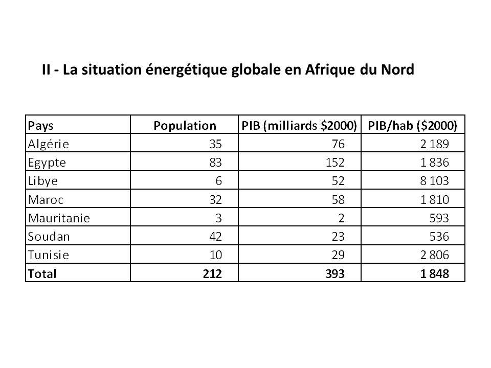 II - La situation énergétique globale en Afrique du Nord