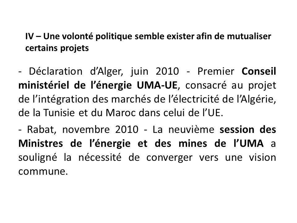 IV – Une volonté politique semble exister afin de mutualiser certains projets - Déclaration dAlger, juin 2010 - Premier Conseil ministériel de lénergi