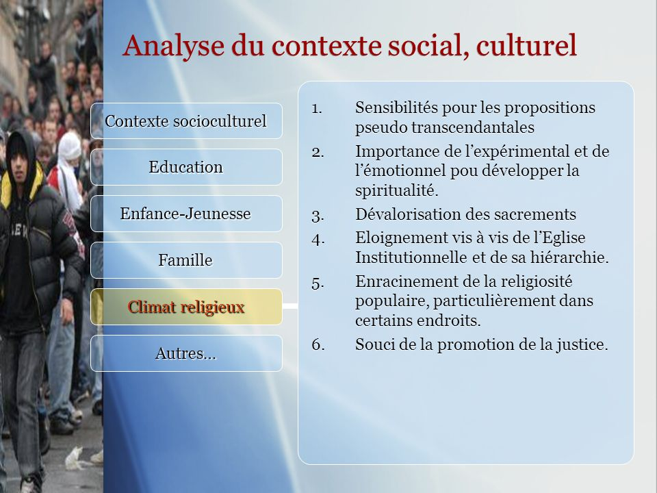 Analyse du contexte social, culturel Contexte socioculturel Education Enfance-Jeunesse Famille Climat religieux Autres… 1.Sensibilités pour les propos