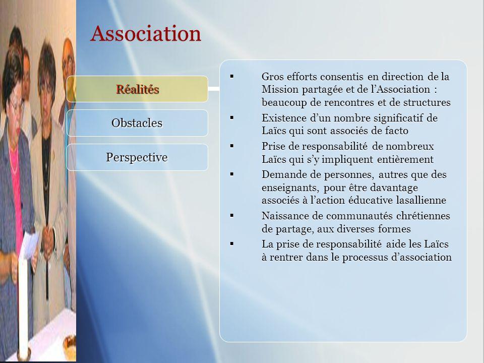 Association Réalités Obstacles Perspective Gros efforts consentis en direction de la Mission partagée et de lAssociation : beaucoup de rencontres et d