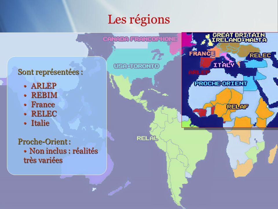 Sont représentées : ARLEP ARLEP REBIM REBIM France France RELEC RELEC Italie Italie Proche-Orient : Non inclus : réalités très variéesNon inclus : réa