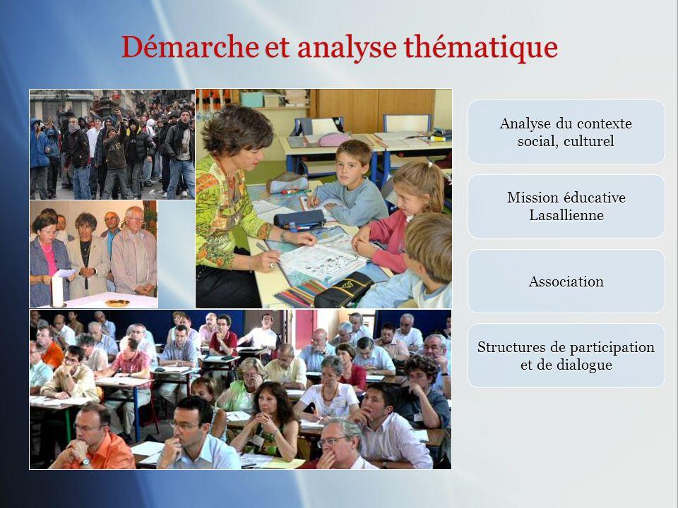 Démarche et analyse thématique Démarche et analyse thématique Analyse du contexte social, culturel Mission éducative Lasallienne Association Structure