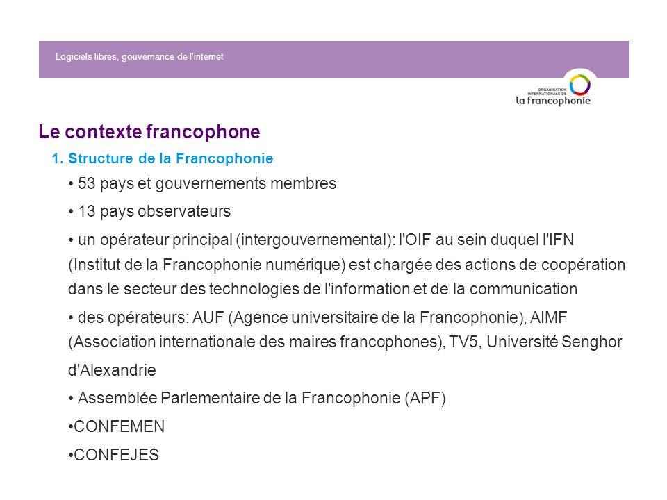 Logiciels libres, gouvernance de l internet Le contexte francophone 1.