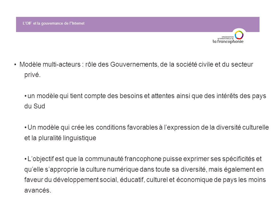 Modèle multi-acteurs : rôle des Gouvernements, de la société civile et du secteur privé.un modèle qui tient compte des besoins et attentes ainsi que d