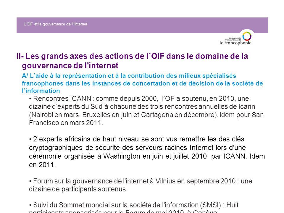 II- Les grands axes des actions de lOIF dans le domaine de la gouvernance de l'internet A/ Laide à la représentation et à la contribution des milieux