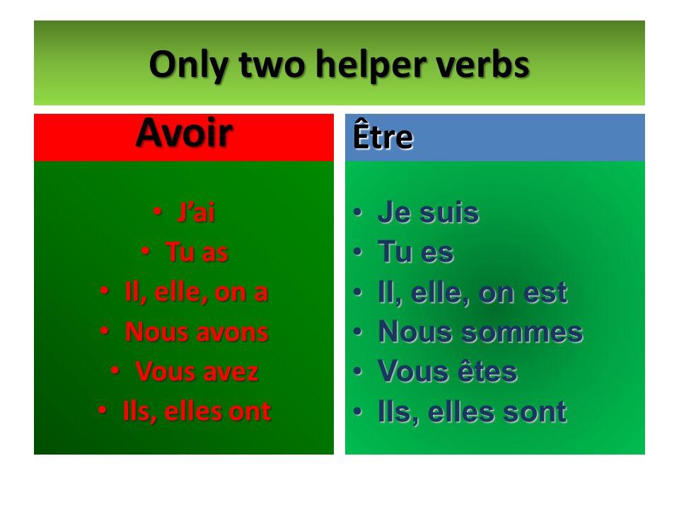 Only two helper verbs Avoir Jai Jai Tu as Tu as Il, elle, on a Il, elle, on a Nous avons Nous avons Vous avez Vous avez Ils, elles ont Ils, elles ont