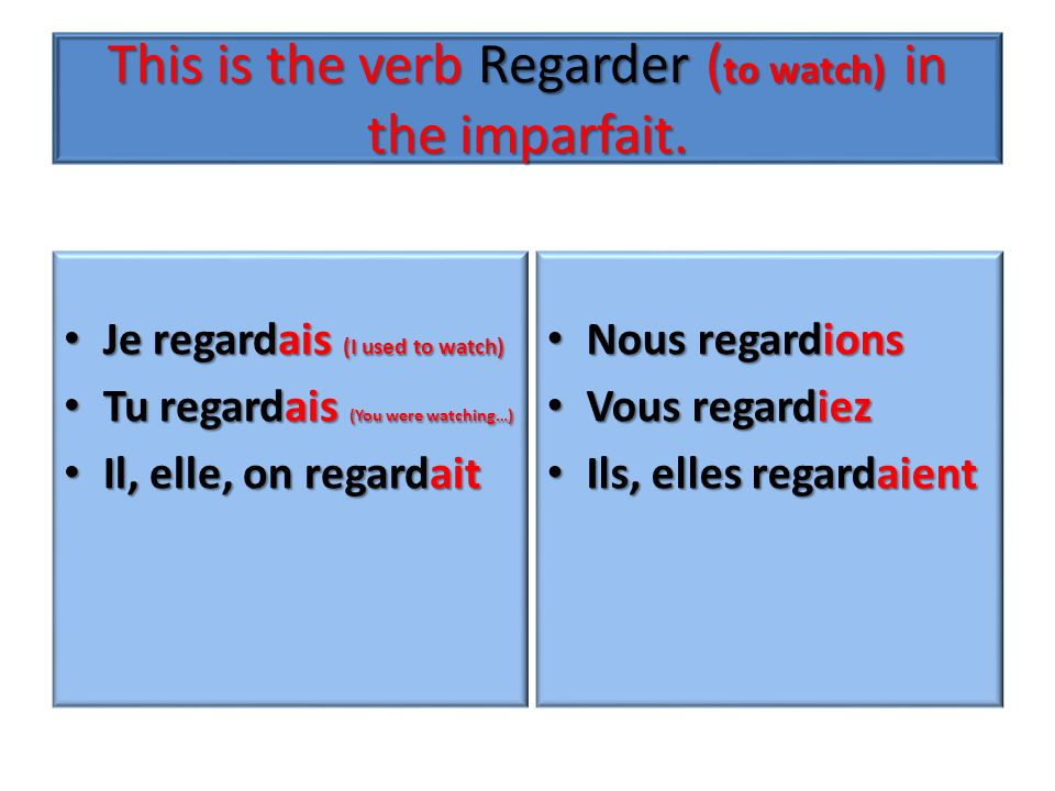Passé composé Avoir (Most of the time) or + Past participle Être When the verb is on the list or reflexive